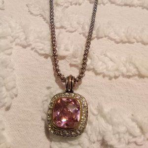 Silver Tone Chain with Pink Rhinestone Pendant